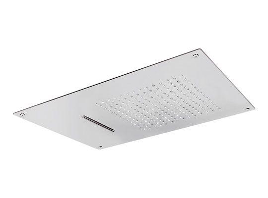 Soffione a soffitto in acciaio INOX 55 x 40 cm. Due getti